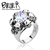 Noble CZ lots of Skull big stone ring 2014 Fashion Punk Exaggerated ring for men or women High Quality BR8-007