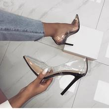 2019 Transparent Clear Shoes Lady Sexy Clear High Heels Pumps