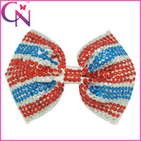 Rhinestones Hair Grips, 5 inch Regular Sticked Rhinestones Beaded Bow Tie Shape High Fashion Hair Bow