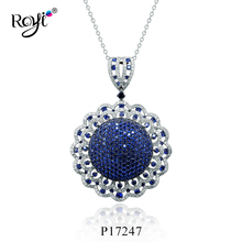2017 Trending Products 925 Sterling Silver Jewelry Life of Flower Spinel Blue Stone Pendant