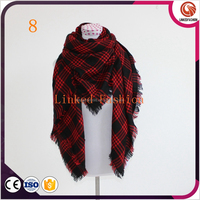 New Lady Women Blanket Oversized Plaid Cozy Checked Tartan Scarf Wraps shawl