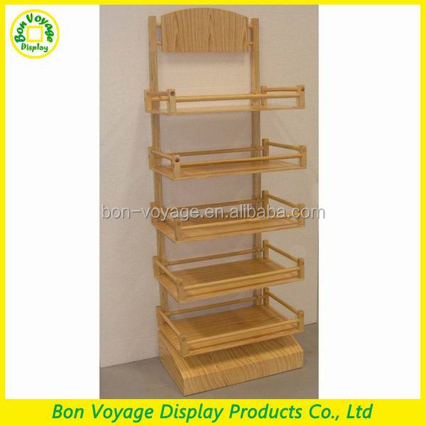 wooden bakery display storage showcase wood point of purchase display stand