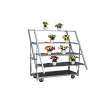 4 wheels mobile wire ducth flower trolley carts racks with wood boardtch trolley carts