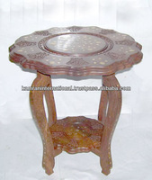 Sheesham wood antique carving brassinlay stool table for home decoration