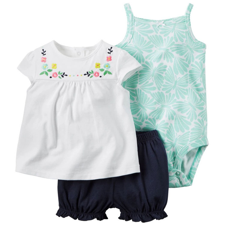 Baby Girl Cotton Bodysuits Undershirt Short Sleeve Baby Clothing Set