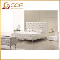 European white bed wood double bed designs