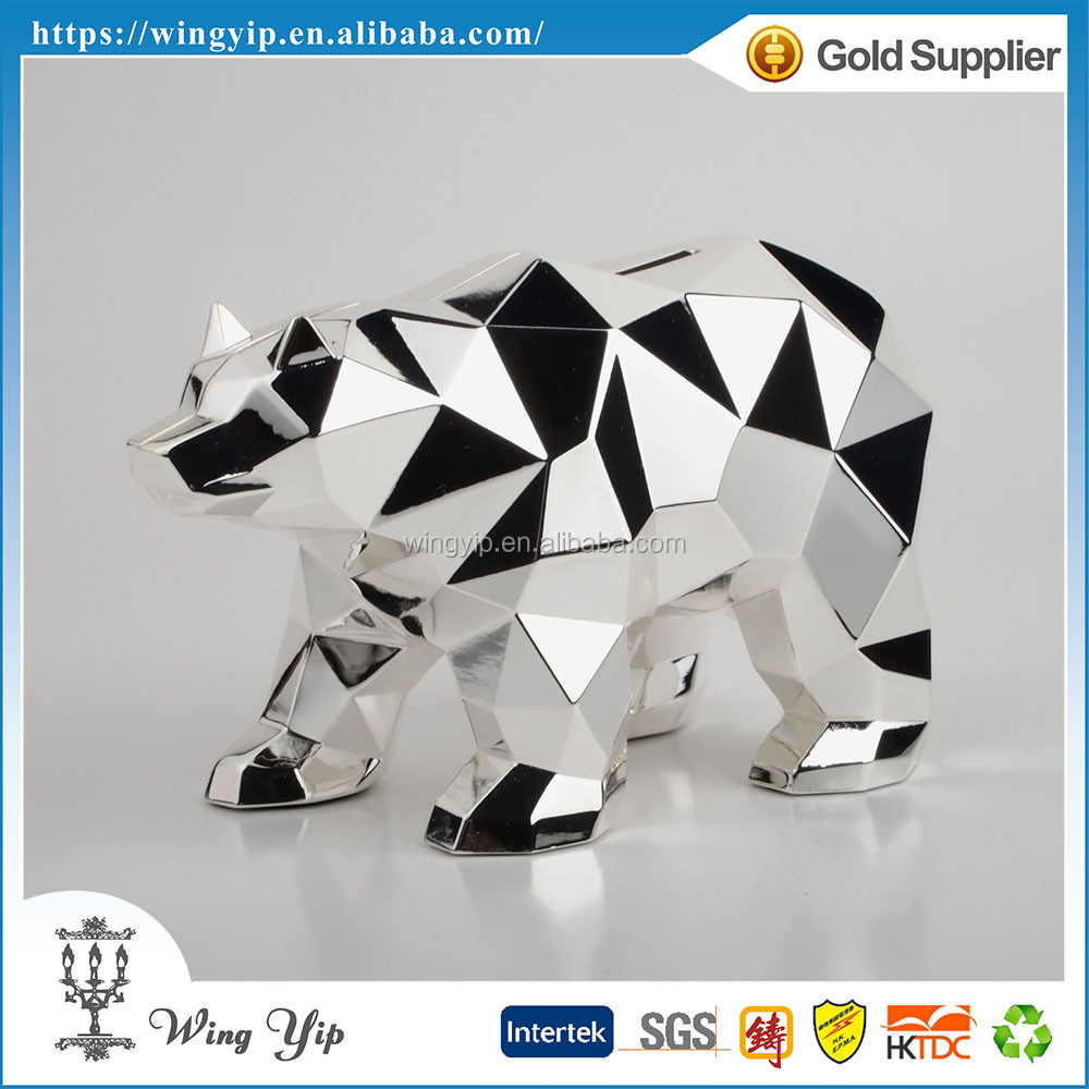 Tailor made trendy Bear Geometric Metal Coin Box for Gift