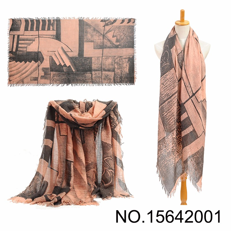 High Quality Sand Painting Viscose Scarf