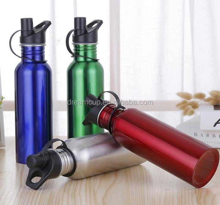 2017 Popular Stainless steel Single wall sport water bottle with bamboo lid
