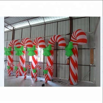 Colorful Inflatable christmas Stick Giant Inflatable Christmas Candy Cane/inflatable walking stick for Christmas Decoration