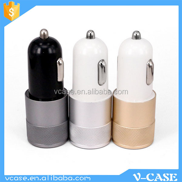5V 2.1A 5V 1A OEM Colorful 2 port PC black usb car charger for Mobile Phone