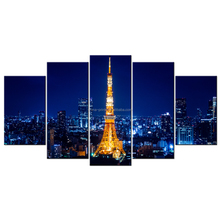 Overnight Eiffel Tower Canvas Print/Paris Tower Landscape Canvas Painting/The Famous Landmarks Painting on Canvas/5 Panels