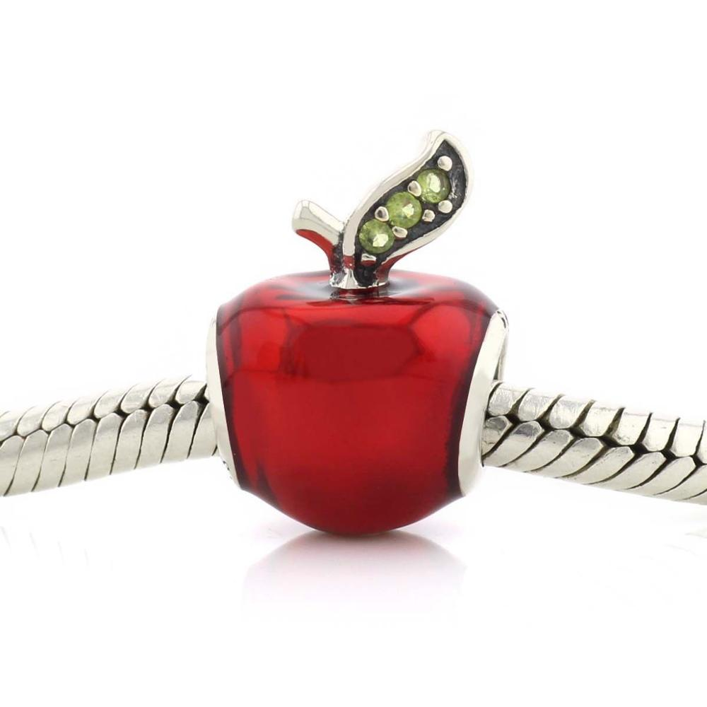 925 Sterling Silver Snow White's <strong>Apple</strong> Red Enamel Green CZ Charm Christmas Gift
