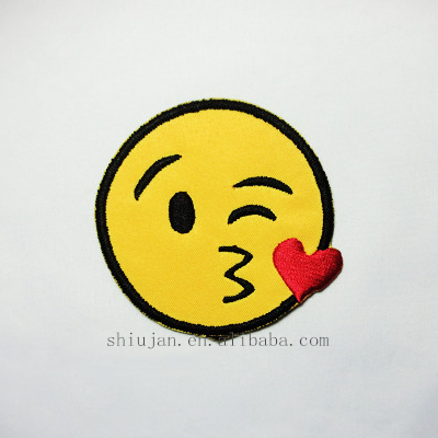 High quality Emoji face embroidery applique patches
