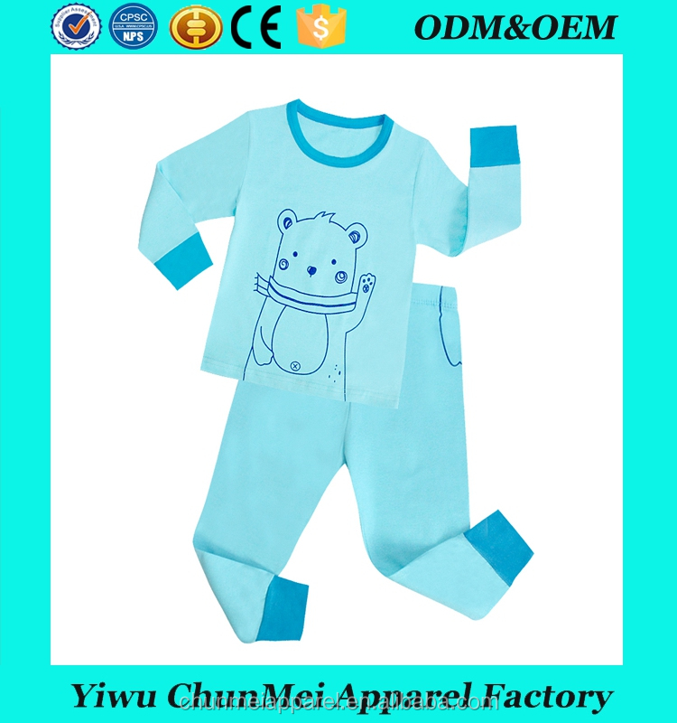 boys long sleeve cotton pajamas suits blue bear style kids sleeping wear children fashion brand clothes
