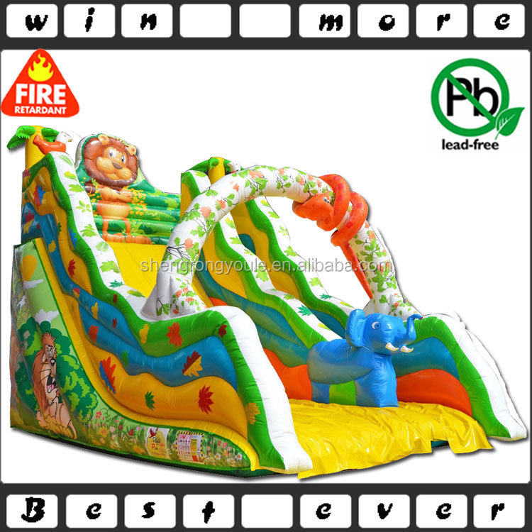 cheap top quality kids animal world offer inflatable slides show with certification