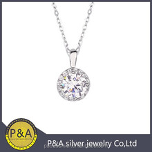 fine engage earring with round main diamond stone brass pendant necklace rhodium plating silver