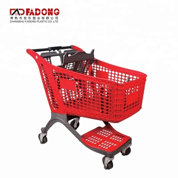 modern 4 wheel supermarket plastic basket shopping trolley