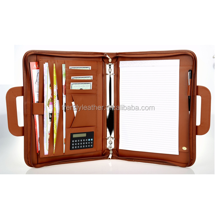 Custom different designs A4 leather portfolio case, leather expandable file folder with handle