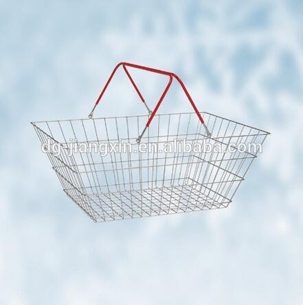 Shopping Baskets Chrome plated Grocery/Market Basket Wire Hand Shopping Basket(JXB23)