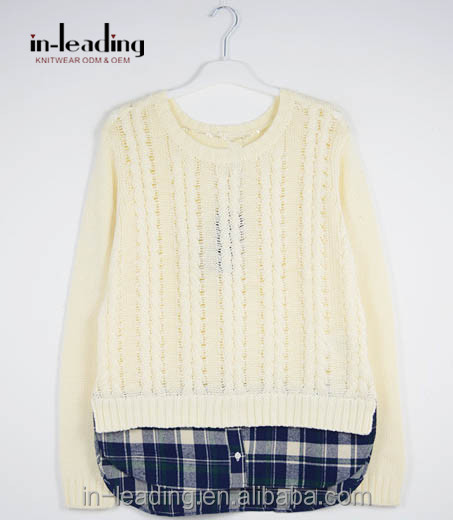 Wool handmade fake two piece sweater design for girl with twisted rope weave