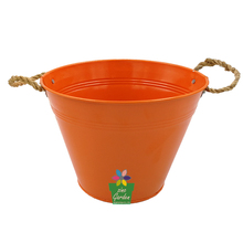 Promotional garden decorative pots colorful pantied galvanized steel for flowers with rope holders tin flower pot