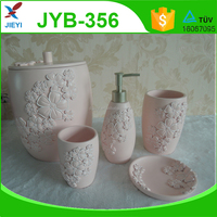 Pretty elegant decorative pink flower resin bathroom set for lady
