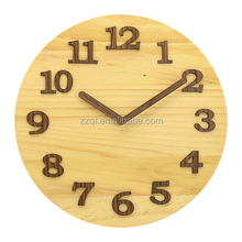 3D numbers natural wood round wooden wall clock for gift and household items without glass with wooden hands