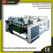 Double pieces corrugated cardboard carton gluing machine
