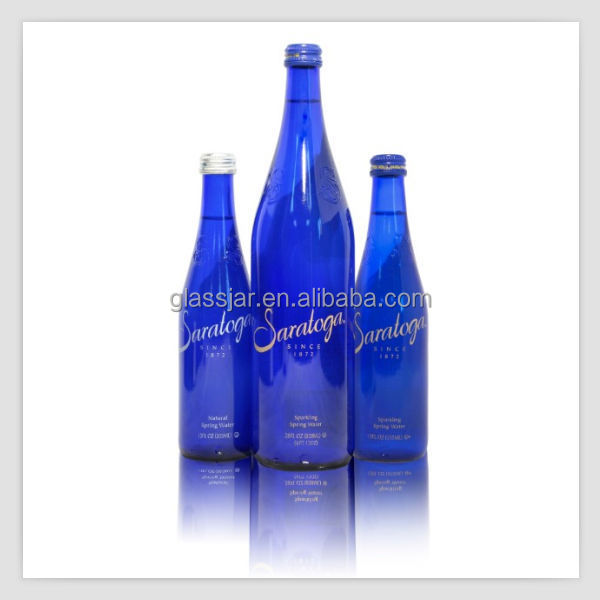 375ml cobalt blue sparkling water glass bottle