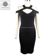 2017 ladies fashion sexy black bodycon dress with shoulder-baring neckline for wedding dress