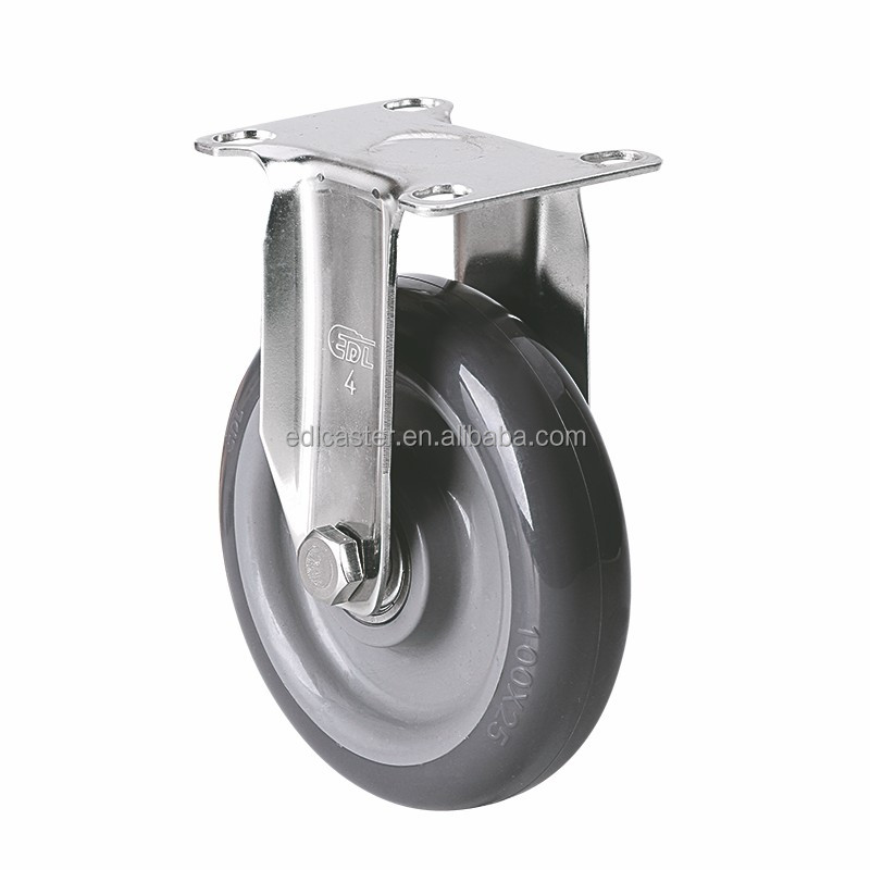 "EDL Light Duty 4"" 90Kg Polyurethane Double Ball Bearing Stainless Steel Plate Rigid Small Industrial Caster Wheel for trolley"