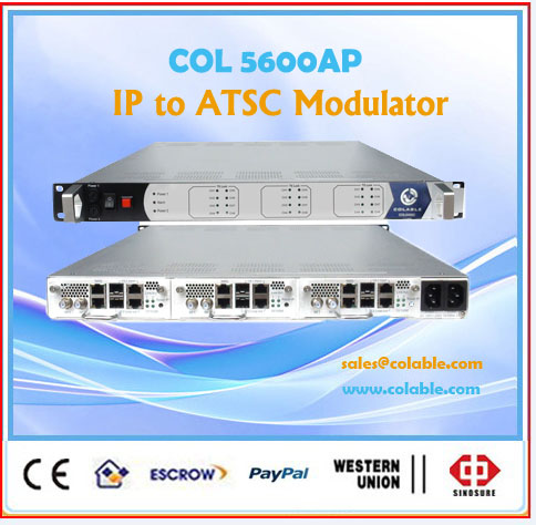 ip to atsc rf modulator 8vsb,mux 256 channels ts over udp up to modulator COL5600AP