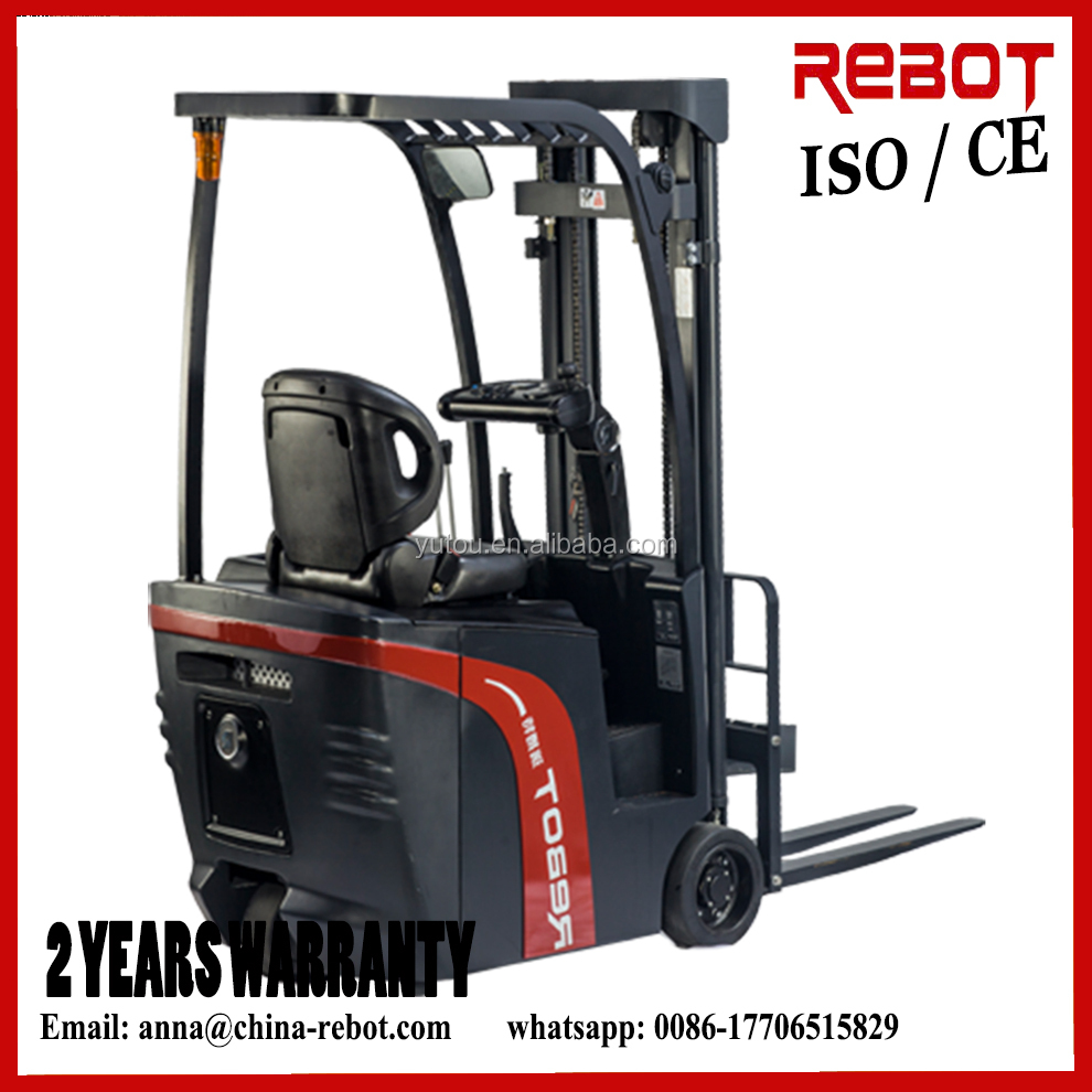 Japan REBOT 1200kg Electric 3 wheels Forklift CPD12 with triple stages mast fork lift at smallest turning radius