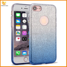 Hot sell 3 in 1 popular glitter sticker silver electroplating tpu cover case for iPhone 7