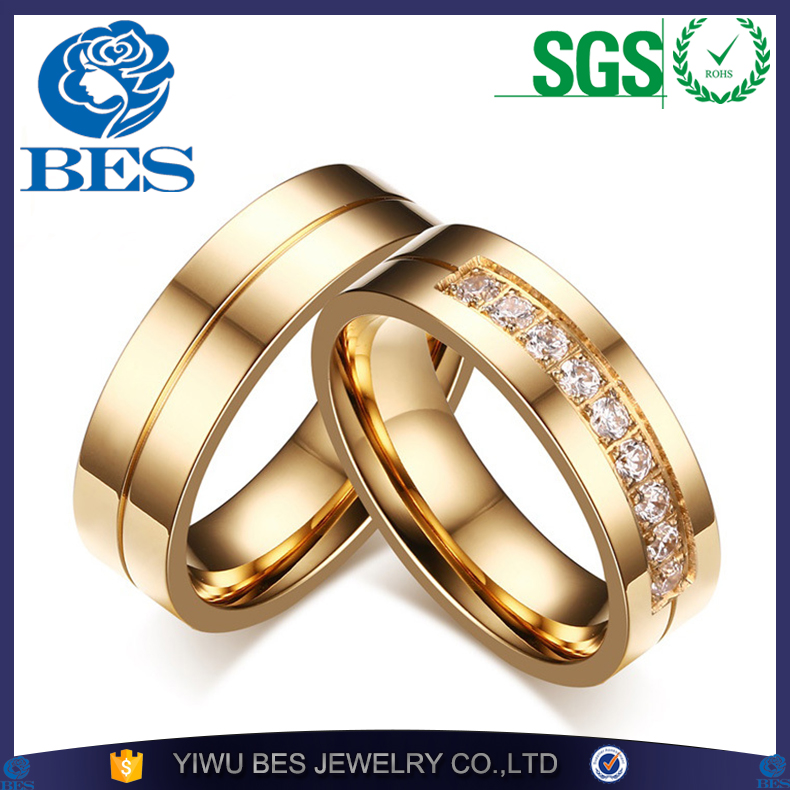 Hot Sale Gold Plating Wedding Rings for Men Women CZ Couple Ring 316L Stainless Steel Engagement Jewelry Alliance