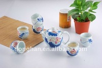 porcelain flower antique tea set Kungfu tea cup set with tray