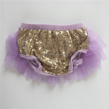Hot sale solid colors gold sequin lilac chiffon bloomer baby diaper cover