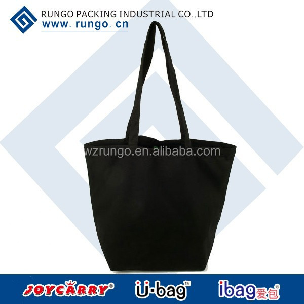 Black fancy canvas shopping bag cotton 2015 wholesale with button on top