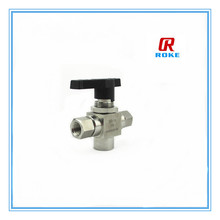 10000psi stainless steel female thread connect manual power 3 way ball valve for gas