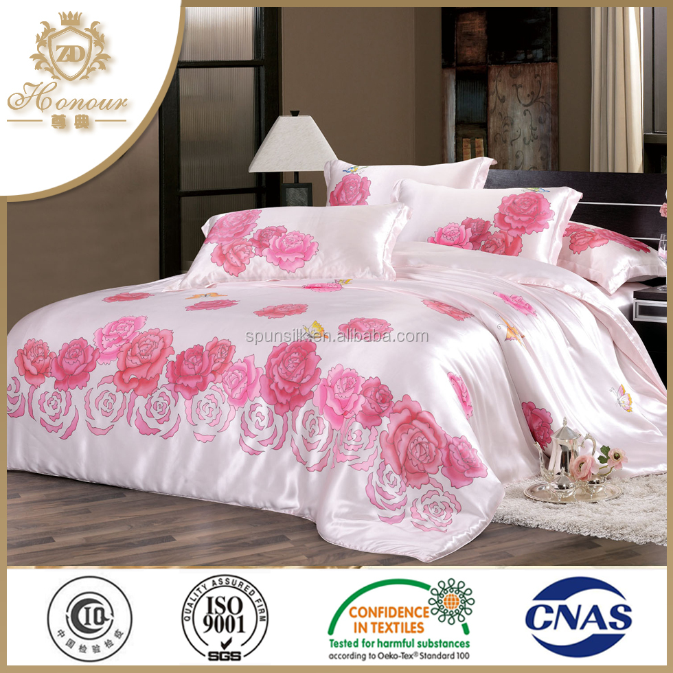 Five star hotel customized product 100% mulberry silk king size bedding set bed sheets