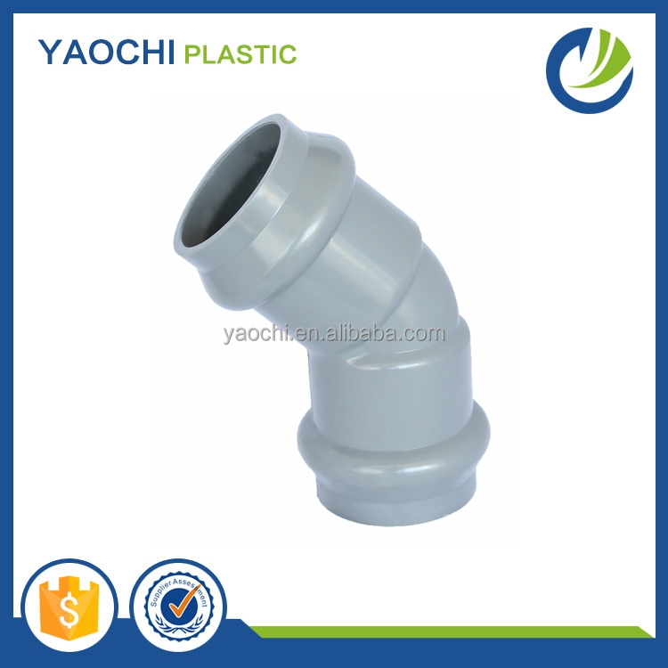 china low price products PVC pipe fittings with rubber joint 6 inch grey 45 degree elbow
