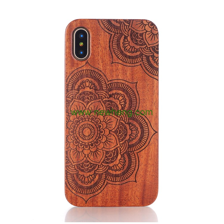 Laser Engraving wood+pc Cell Phone Case For iPhone X