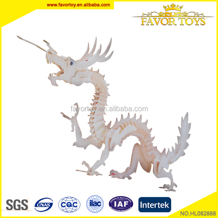 Funny non-toxic oem dragon shape wooden educational puzzle