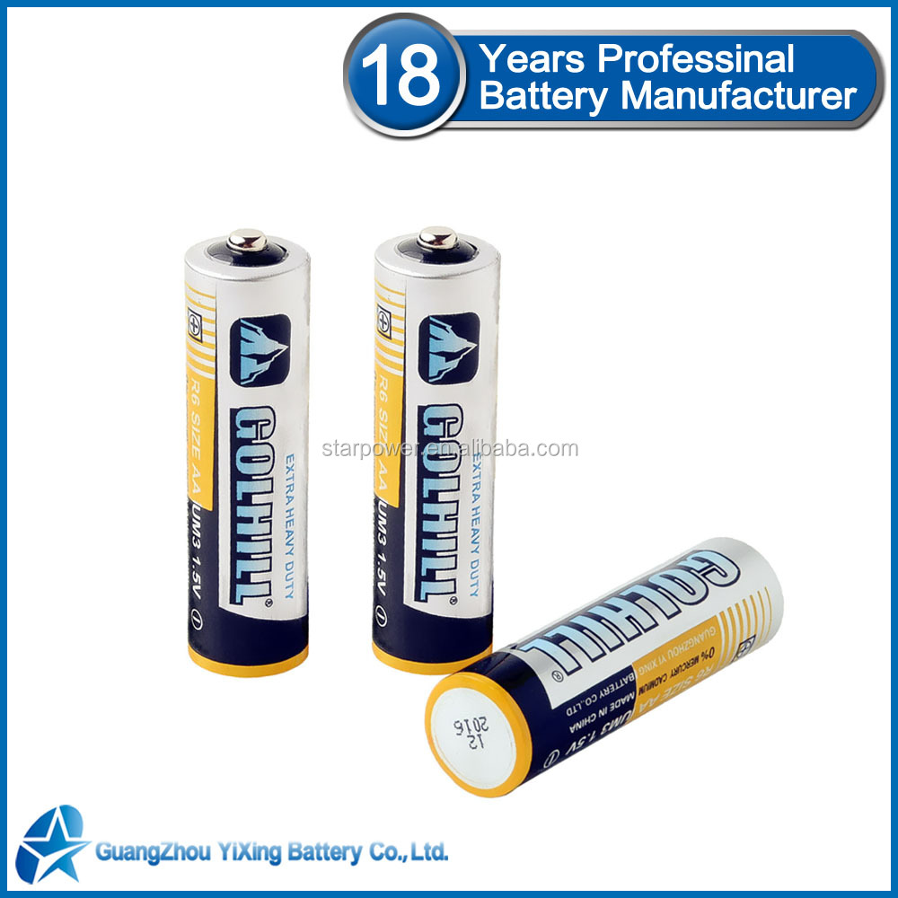 Zinc carbon cell R6 aa battery 1.5v