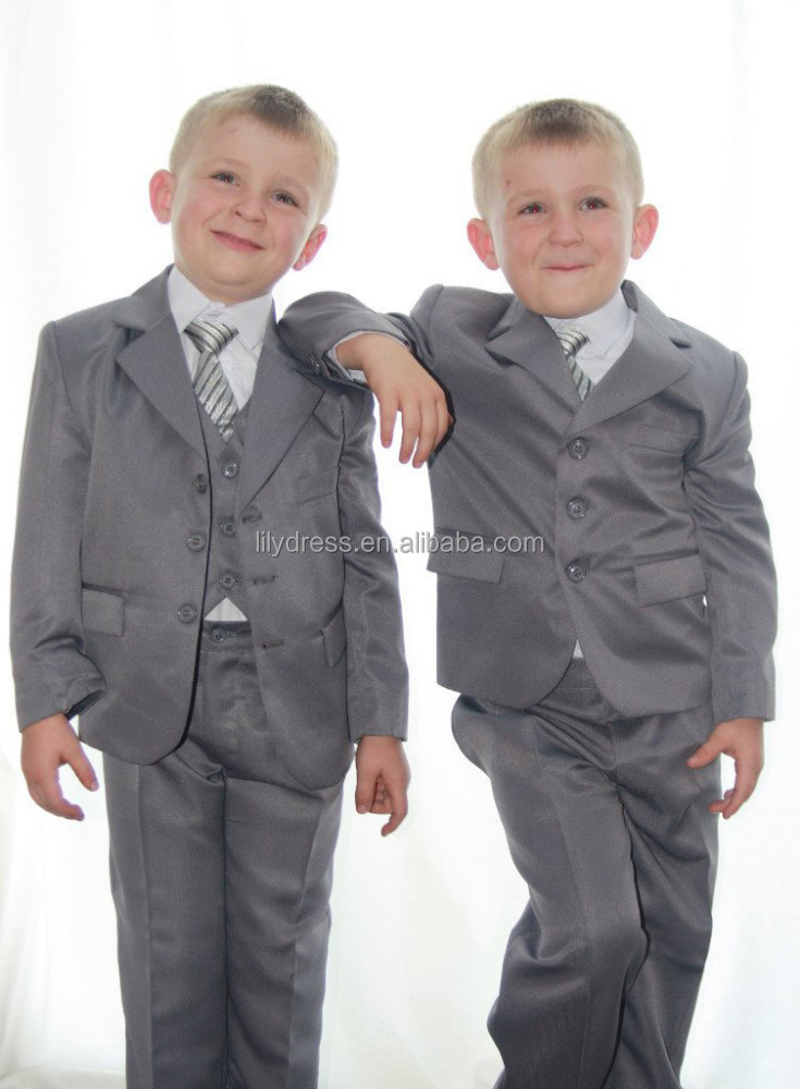 Custom Made Gray Three Buttons Boy Suits Party Dress Dinner Wear (Jacket+Pants+Tie+Vest+Shirt) NS002 Wedding Party Dresses