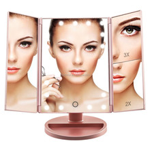 Tri-fold Three Panel 21Pcs dimmable touch screen LED Mirror with lights