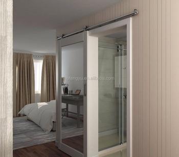 White Painted Mirrored Barn Door For Hampton Inn Warren Hotel
