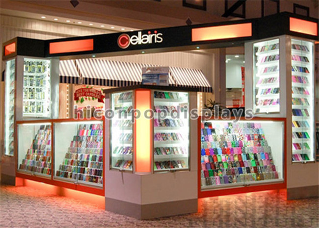 Creative Free Design Shopping Mall Wood And Acrylic Lighting Fashion Cell Phone Mobile Accessories Kiosk