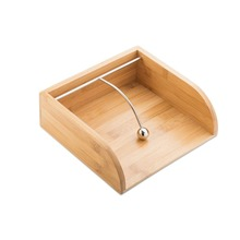 Bamboo Napkin Holder / Tissue box with Stainless Steel Weight Guide